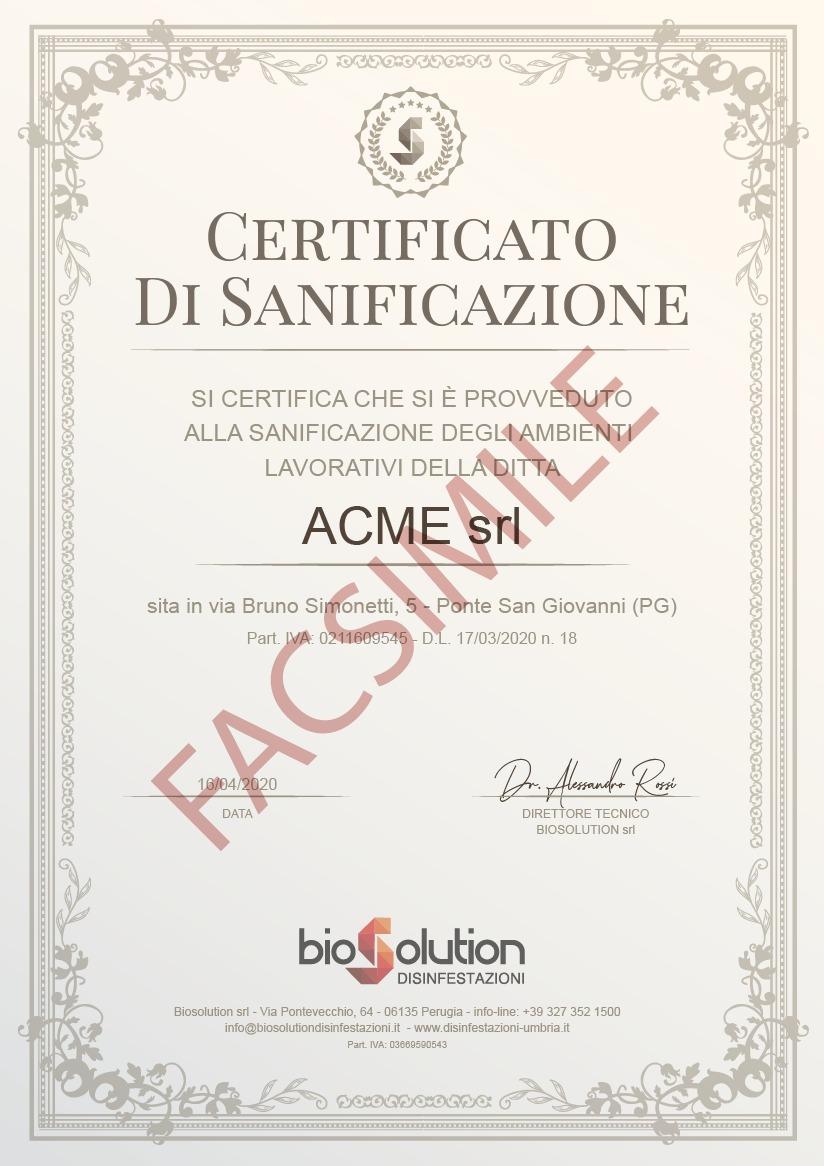 certificato di sanificazione Biosolution